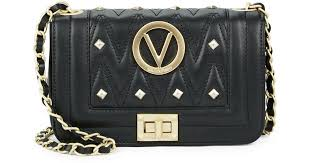 valentino by mario valentino beatriz studded leather cross bag in black lyst