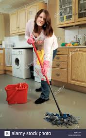 Kitchen Floor Mop Young Woman House Wife Cleaning Her Kitchen Mopping The Floor