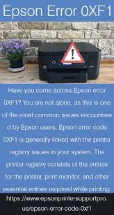 Epson error 0XF1 in 2021 | Error code, Epson printer, Printer