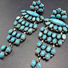 3 5 long signed navajo sterling silver turquoise cer chandelier earrings