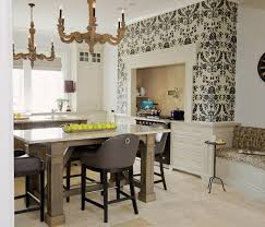 Black and white kitchen wallpaper, white kitchens cabinets and wooden  dining furniture