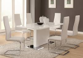 white dining table set coaster modern dining 7 piece white table u0026 upholstered chairs