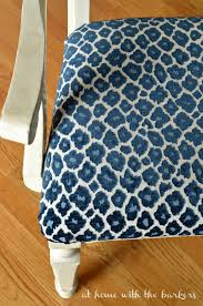 recover kitchen chair tutorial using simba fabric in navy