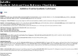 Lubritec Synthetic Lubricant Cross Reference Chart Series Pdf