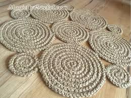 flower crochet rug natural jute rug handmade rug small area rug no 003