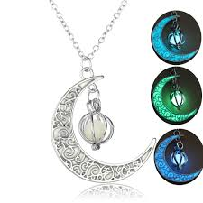 Us 1 42 28 Off 2019 New Hot Moon Glowing Necklace Gem Charm Jewelry Silver Plated Women Halloween Luminous Stone Pendants Necklace Gifts In Pendant