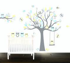 grey tree wall decal boys grey yellow owl wall decals nursery wall stickers zoom wall decals