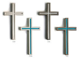 gray concrete contemporary wall cross with colors