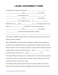 Assignment Agreement Free Assignment of Lease Form PDF Word eForms Free Fillable 1