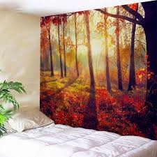 autumn sunshine forest wall tapestry for bedroom orange red