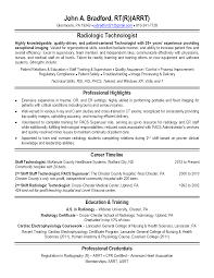 Radiologic Technologist Resume Examples