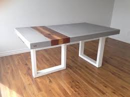 Gray Concrete Table with Wood Plank Inlay