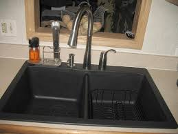 exquisite kitchens look sing silver widespread single faucet and rectangular black double sinks
