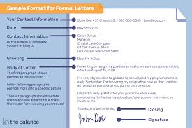Formal Letter Heading Format Sample Format For Writing A Letter