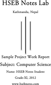 Science Projects Reports Sample Computer Science Project Work Grade 11 Hseb Notes Projects To