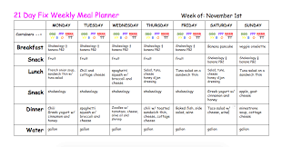 21 Day Fix Meal Chart 21 Day Fix Weekly Meal Plan
