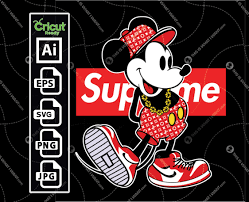 Supreme and Disney Inspired printable logo art with Mickey Mouse Black-  vector art design hi quality- Ai, SVG, JPG, PNG, Eps - Cricut Ready - This  is What I Want