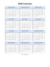 2020 Calendar Editable 2020 Calendar Blank Printable Calendar Template In Pdf