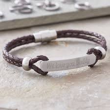 men s personalised plaited leather id bracelet