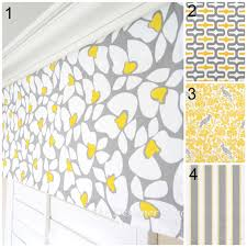 grey and yellow window valance