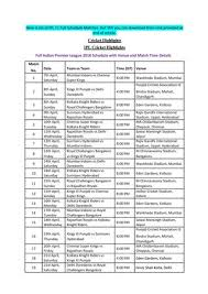 Ipl 2018 Schedule Pdf Download With Venues Times By