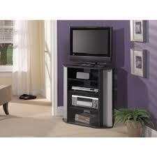 bush furniture visions tall corner tv stand in black and metallic com