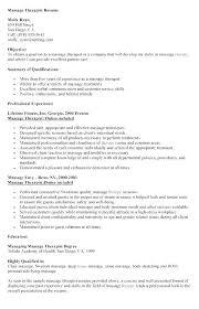 Sample Resume For Massage Therapist Sample Resumes For Massage