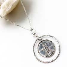 eiffel tower in circle necklace
