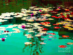 water lilies painting zen garden pond serenity and beauty lily pads at the pad painted rock