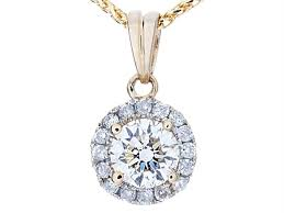 round brilliant diamond halo pendant necklace in 14k yellow gold 0 50 ct twt