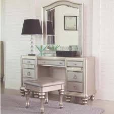 Stunning Silver Brass Small Makeup Vanity Desk Featuring Metal Framed  Mirror With Double Side Graded Drawers With Ring Pull And Double Knob  Center Drawer ...
