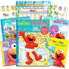 Sesame Street Elmo Potty Training Book Super Set For Toddlers Includes Progress Chart Poster Reward Stickers And Bonus Sesame Storybooks Abc