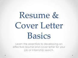 Resume And Cover Letter Basics Sga