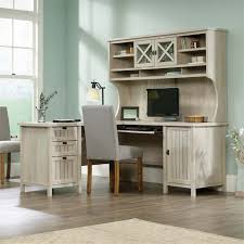 sauder costa l shaped computer desk with hutch in chalked chestnut