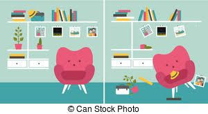 tidy und untidy room living room with armchair and book