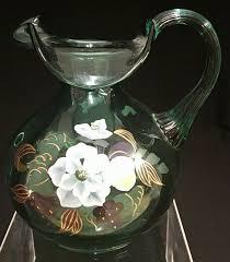 antique green fenton fenton fenton hand painted fl 7 water pitcher signed alice farley 604774