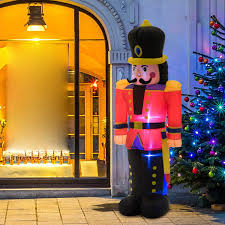Christmas Lighted Soldiers Homcom Airblown Inflatable Christmas Outdoor Lighted Yard Decoration Nutracker Toy Soldier 6 Tall
