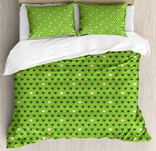 green duvet cover set cute small heart shapes vibrant color celebratory fun pattern design decorative bedding set with pillow shams lime green dark green