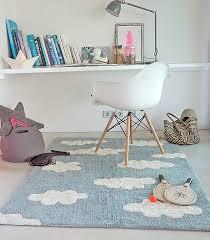 lorena cs kids room vintage style rug clouds blue