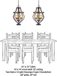 chandelier size for dining room. Kalco 3-Light Foyer Chandelier 6108 From The Durango Collection Size For Dining Room E
