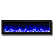 amantii 50 slim built in electric fireplace with black steel surround blue flame