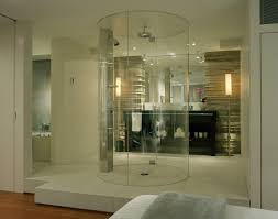 shower door open or closed and interior bathroom glass wall with ceiling waterfall faucets irresistible