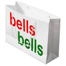 red christmas wedding bells gifts on zazzle Wedding Bells Phrase red and green bells bells christmas word phrase large gift bag phrases about wedding bells