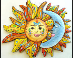 >sun decor metal wall decor garden decor metal sun decor  sun moon art metal wall art painted metal wall hanging 24 patio decor metal art design garden art outdoor metal art j 150 24
