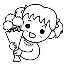 ママありがとう白黒母の日の無料イラスト春の行事季節素材