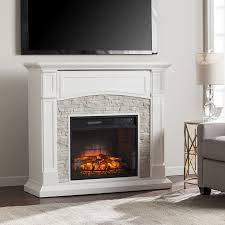 image of electric fireplace heater tv stand white