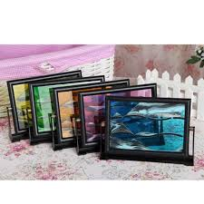 color moving sand glass art picture photo frame home office decor desk gift z