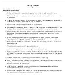Leasing Consultant Job Description 5 Free Pdf Format Download