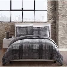 style 212 camden plaid gray twin comforter set