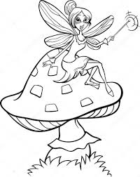 Elf Fairy Fantasy Cartoon Coloring Page Stock Vector Izakowski